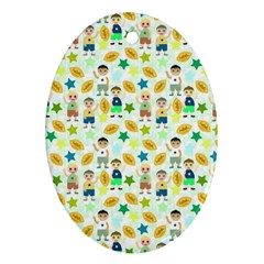 Football Kids Children Pattern Oval Ornament (Two Sides)