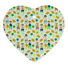 Football Kids Children Pattern Heart Ornament (Two Sides)
