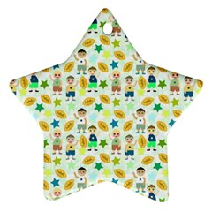 Football Kids Children Pattern Star Ornament (Two Sides)