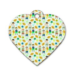 Football Kids Children Pattern Dog Tag Heart (two Sides)