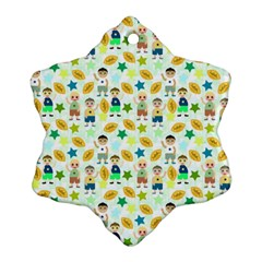 Football Kids Children Pattern Snowflake Ornament (two Sides)