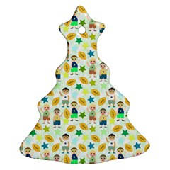 Football Kids Children Pattern Christmas Tree Ornament (two Sides)