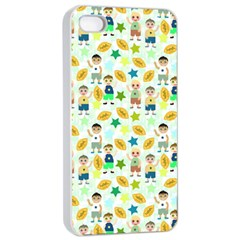 Football Kids Children Pattern Apple iPhone 4/4s Seamless Case (White)