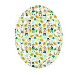 Football Kids Children Pattern Ornament (oval Filigree)
