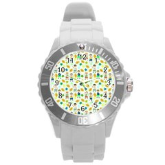 Football Kids Children Pattern Round Plastic Sport Watch (L)