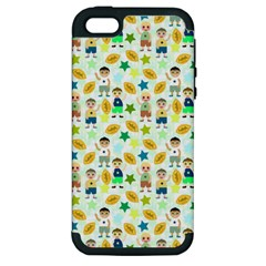 Football Kids Children Pattern Apple iPhone 5 Hardshell Case (PC+Silicone)