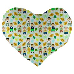 Football Kids Children Pattern Large 19  Premium Heart Shape Cushions