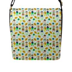 Football Kids Children Pattern Flap Messenger Bag (l)