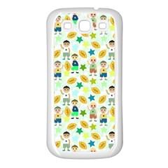 Football Kids Children Pattern Samsung Galaxy S3 Back Case (white)