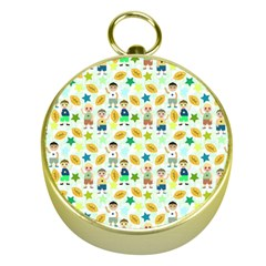 Football Kids Children Pattern Gold Compasses