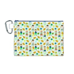 Football Kids Children Pattern Canvas Cosmetic Bag (M)