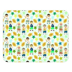 Football Kids Children Pattern Double Sided Flano Blanket (Large)