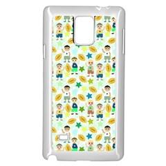 Football Kids Children Pattern Samsung Galaxy Note 4 Case (White)