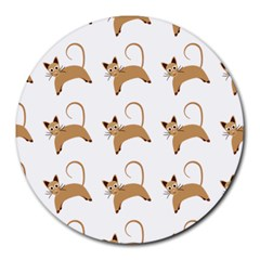 Cute Cats Seamless Wallpaper Background Pattern Round Mousepads