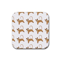 Cute Cats Seamless Wallpaper Background Pattern Rubber Square Coaster (4 pack)