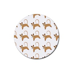 Cute Cats Seamless Wallpaper Background Pattern Rubber Coaster (Round)