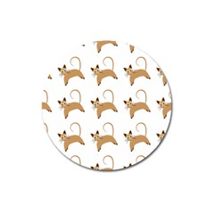 Cute Cats Seamless Wallpaper Background Pattern Magnet 3  (Round)