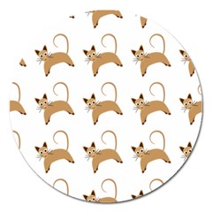Cute Cats Seamless Wallpaper Background Pattern Magnet 5  (Round)