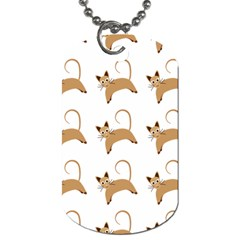 Cute Cats Seamless Wallpaper Background Pattern Dog Tag (one Side)