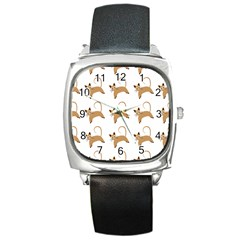 Cute Cats Seamless Wallpaper Background Pattern Square Metal Watch