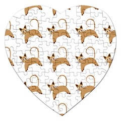 Cute Cats Seamless Wallpaper Background Pattern Jigsaw Puzzle (heart)