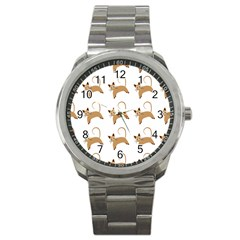 Cute Cats Seamless Wallpaper Background Pattern Sport Metal Watch