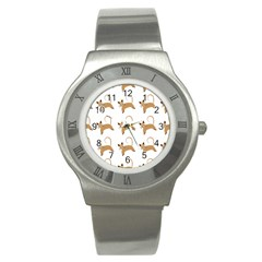 Cute Cats Seamless Wallpaper Background Pattern Stainless Steel Watch