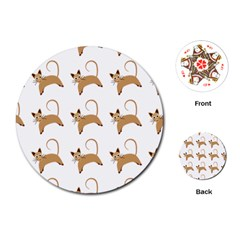 Cute Cats Seamless Wallpaper Background Pattern Playing Cards (round)
