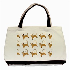 Cute Cats Seamless Wallpaper Background Pattern Basic Tote Bag