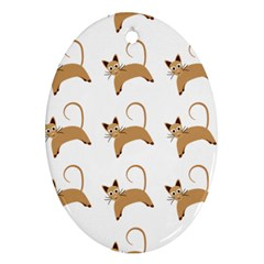 Cute Cats Seamless Wallpaper Background Pattern Oval Ornament (Two Sides)