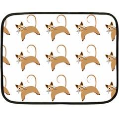 Cute Cats Seamless Wallpaper Background Pattern Fleece Blanket (Mini)