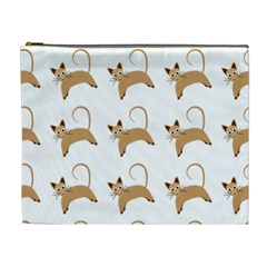 Cute Cats Seamless Wallpaper Background Pattern Cosmetic Bag (XL)