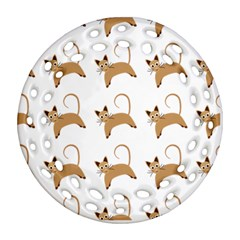 Cute Cats Seamless Wallpaper Background Pattern Ornament (Round Filigree)
