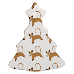Cute Cats Seamless Wallpaper Background Pattern Christmas Tree Ornament (two Sides)