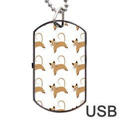Cute Cats Seamless Wallpaper Background Pattern Dog Tag USB Flash (Two Sides)
