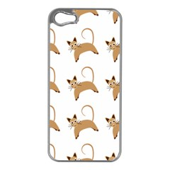 Cute Cats Seamless Wallpaper Background Pattern Apple iPhone 5 Case (Silver)