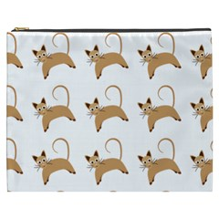 Cute Cats Seamless Wallpaper Background Pattern Cosmetic Bag (XXXL)