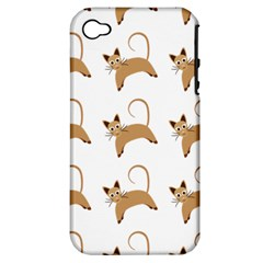 Cute Cats Seamless Wallpaper Background Pattern Apple Iphone 4/4s Hardshell Case (pc+silicone)