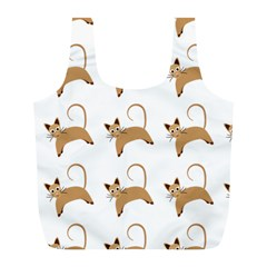 Cute Cats Seamless Wallpaper Background Pattern Full Print Recycle Bags (l)