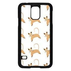 Cute Cats Seamless Wallpaper Background Pattern Samsung Galaxy S5 Case (Black)