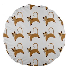 Cute Cats Seamless Wallpaper Background Pattern Large 18  Premium Flano Round Cushions
