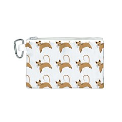 Cute Cats Seamless Wallpaper Background Pattern Canvas Cosmetic Bag (S)