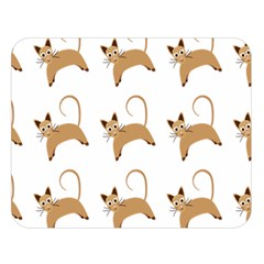 Cute Cats Seamless Wallpaper Background Pattern Double Sided Flano Blanket (Large)