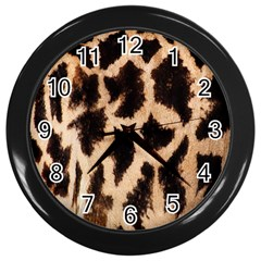 Yellow And Brown Spots On Giraffe Skin Texture Wall Clocks (black)