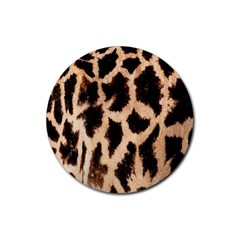 Yellow And Brown Spots On Giraffe Skin Texture Rubber Round Coaster (4 pack)