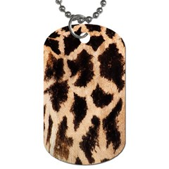 Yellow And Brown Spots On Giraffe Skin Texture Dog Tag (one Side)