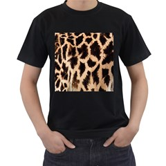 Yellow And Brown Spots On Giraffe Skin Texture Men s T-Shirt (Black) (Two Sided)