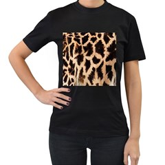 Yellow And Brown Spots On Giraffe Skin Texture Women s T-Shirt (Black) (Two Sided)