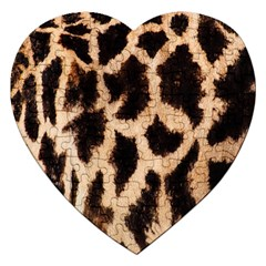 Yellow And Brown Spots On Giraffe Skin Texture Jigsaw Puzzle (Heart)