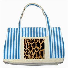 Yellow And Brown Spots On Giraffe Skin Texture Striped Blue Tote Bag